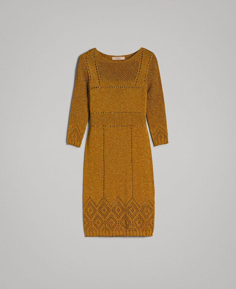 """Kleid aus Lurex mit Durchbruchmuster """"Golden Oak"""" Gold Lurex Frau 191TT3111-0S"""