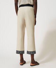 Pantalon en lin mélangé avec broderies Bicolore Beige «Dune» / Noir Brodé Femme 211TT2614-04