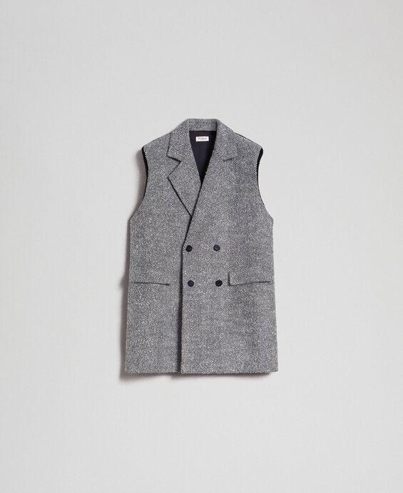 Double breasted chevron wool cloth waistcoat