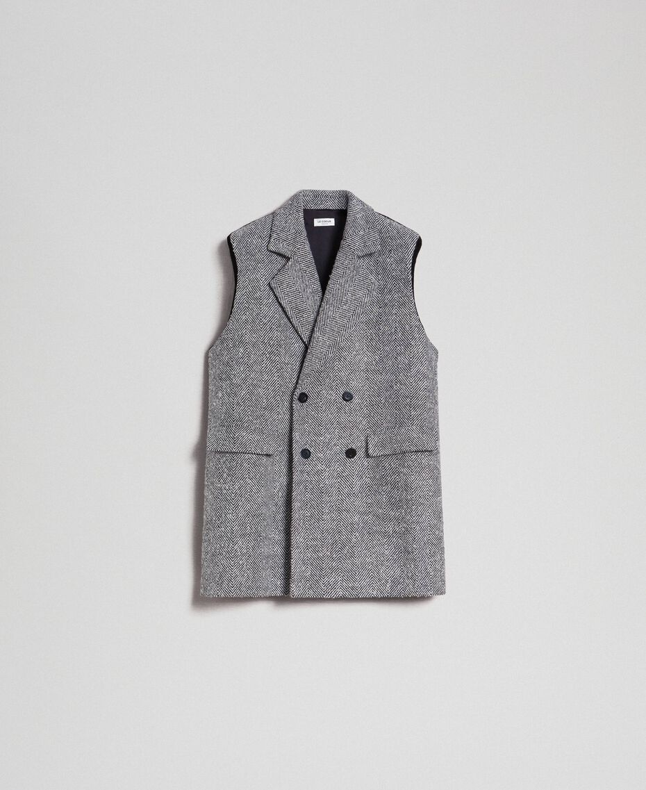 Double breasted chevron wool cloth waistcoat Black Jacquard / Creamy White Woman 192ST2101-0S