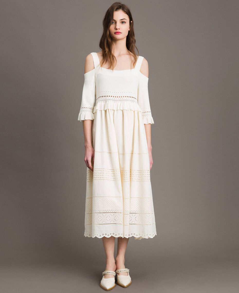 Broderie anglaise knit dress White Snow Woman 191TT3013-02