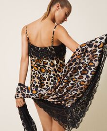 Fular con animal print y encaje Estampado Animal print Mujer 202LL4FTT-0S