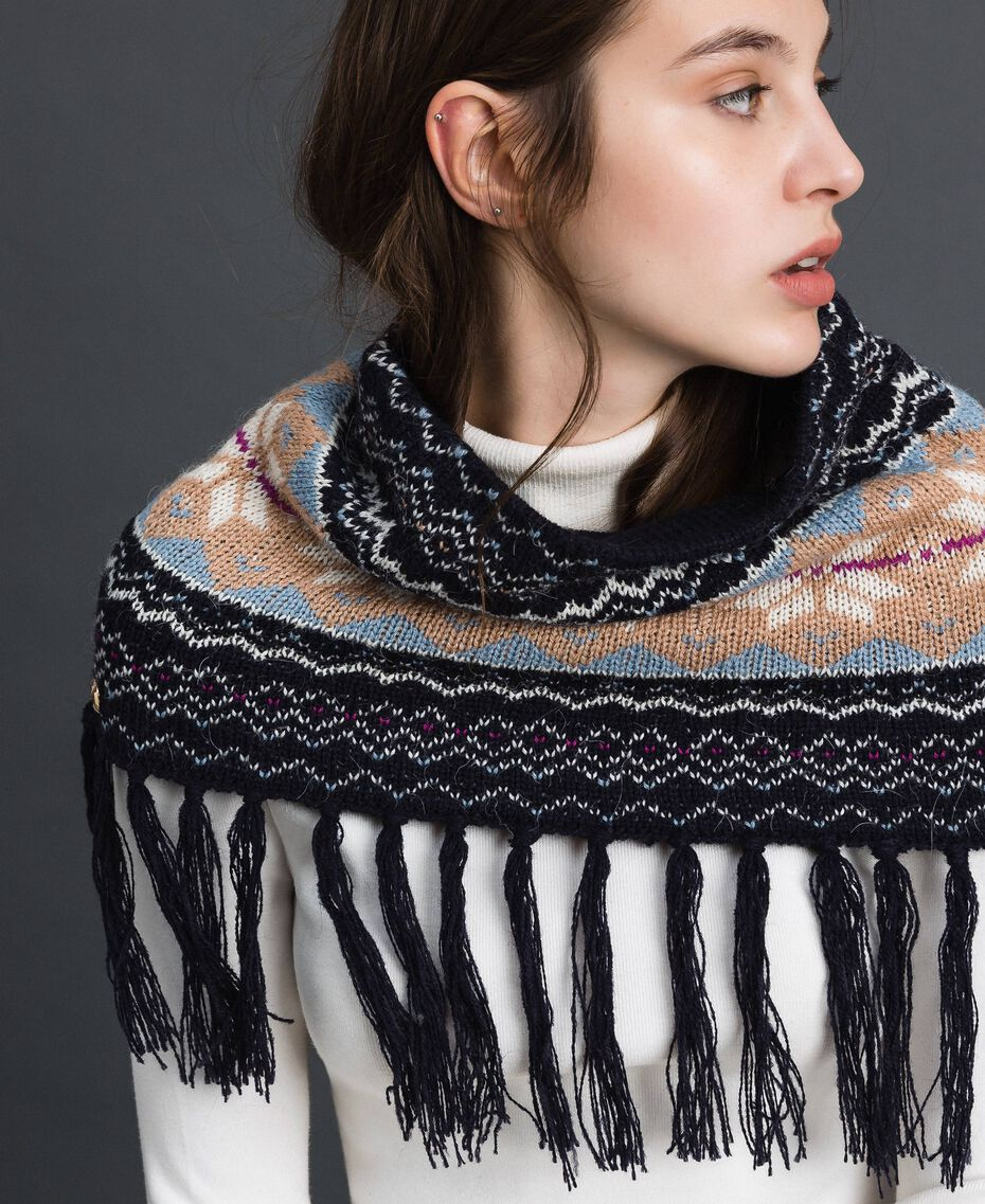 Jacquard knit collar-scarf with fringes Indigo Woman 192MO530C-0S