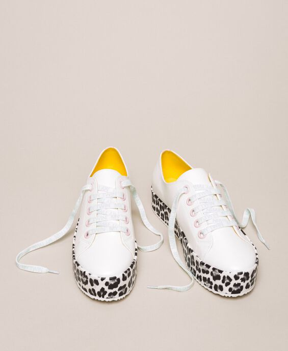 Animal print platform trainers