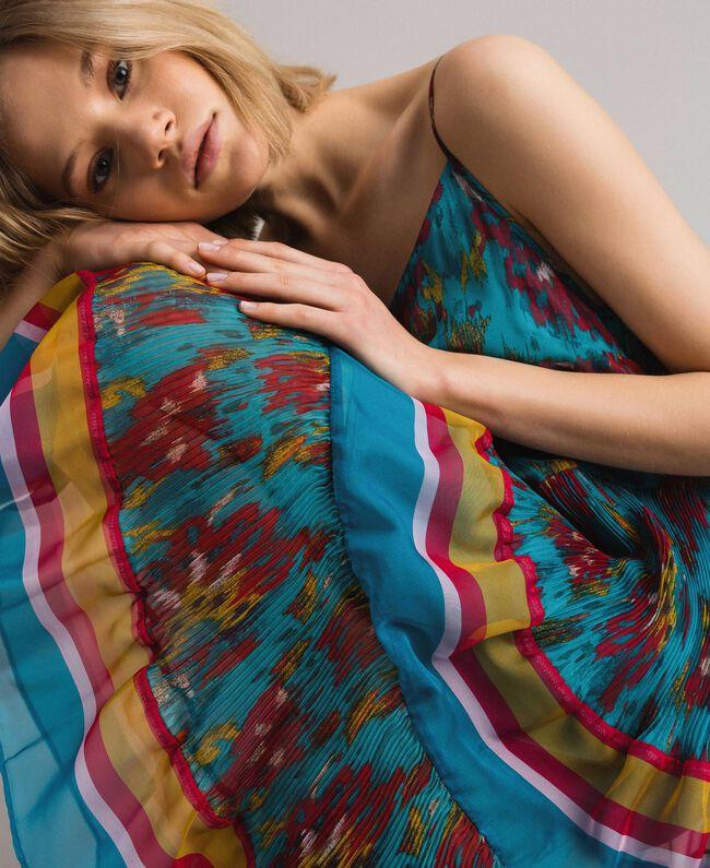Robe en chiffon à imprimé motif floral Multicolore Chiné / Rayures Bleu Céramique Femme 191TT2364-01