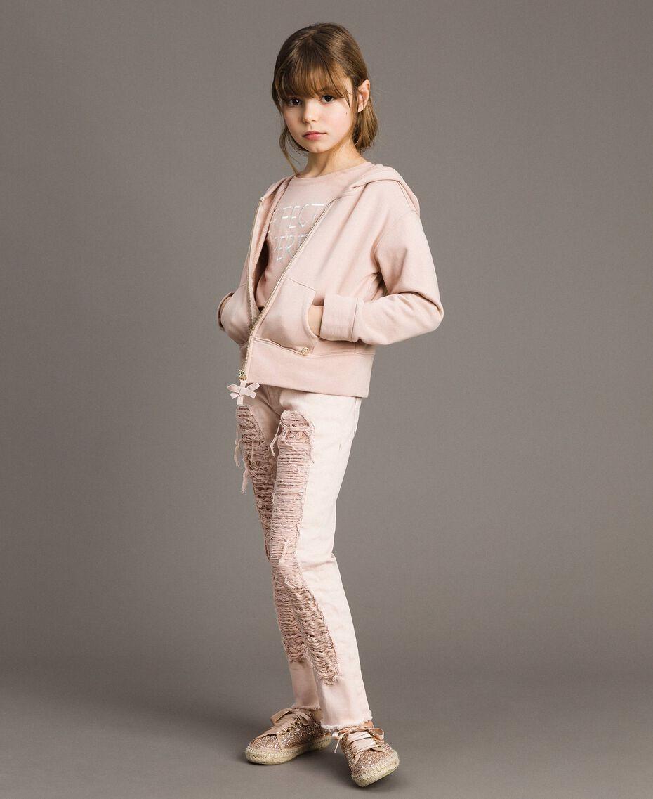 Pantalon skinny en bull avec détails déchirés Rose En fleur Enfant 191GJ2061-0T