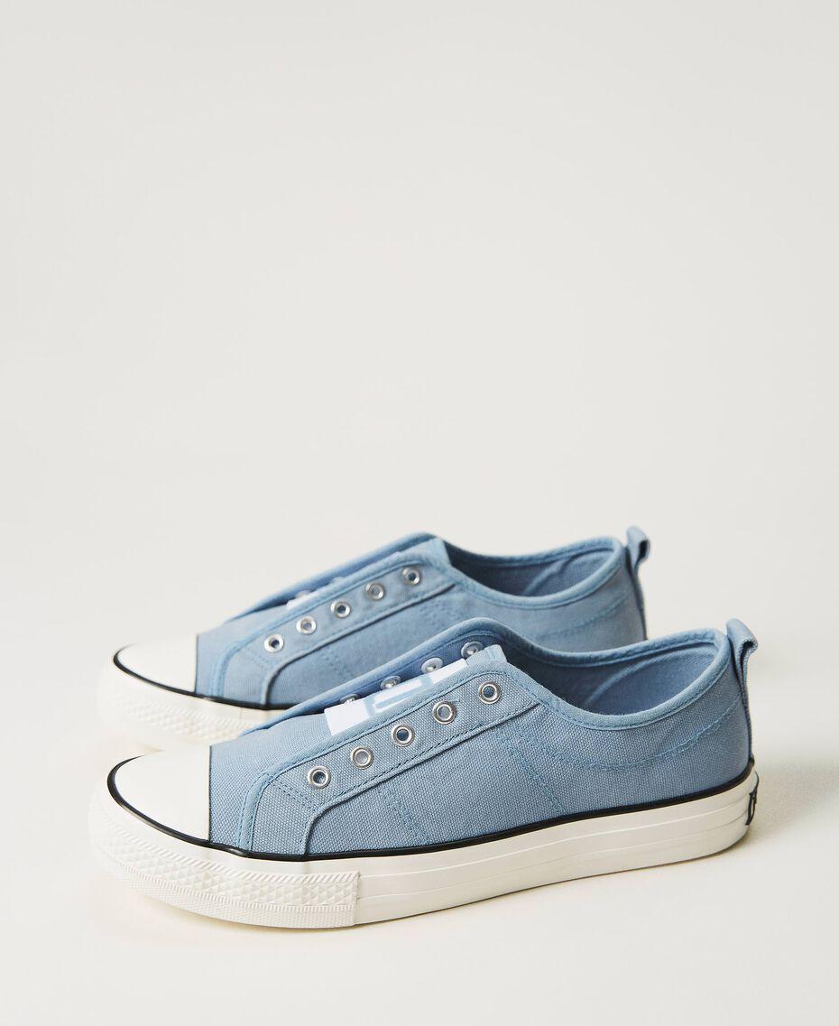 Sneakers de lona con logotipo Denim Mujer 211TCT170-02