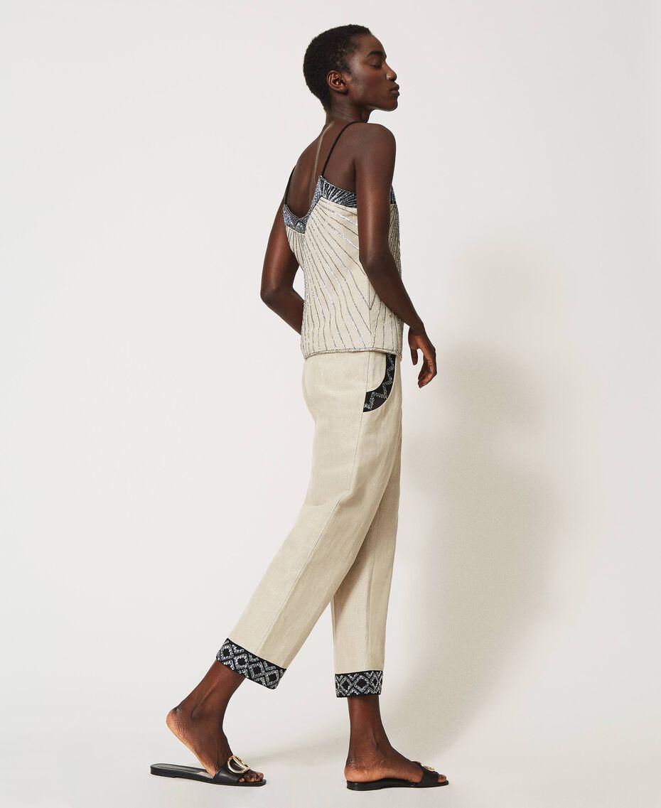 Pantalon en lin mélangé avec broderies Bicolore Beige «Dune» / Noir Brodé Femme 211TT2614-02