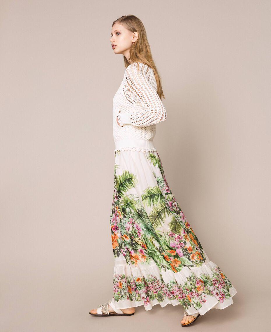 Jupe longue avec imprimé floral Imprimé Jungle Fleurs Neige Femme 201TT2484-02