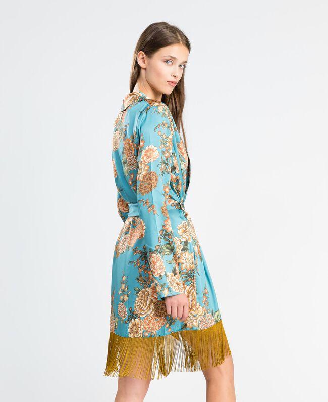 """Vestaglia in twill stampata a fiori Stampa Azzurro """"Blue Melancholia"""" Fiore Donna LA8KRR-03"""