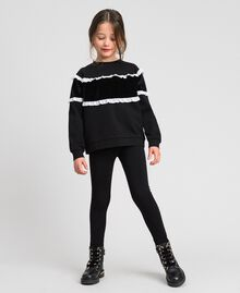 Sweat avec insertion en velours et volants Bicolore Noir / Blanc Enfant 192GJ2469-02