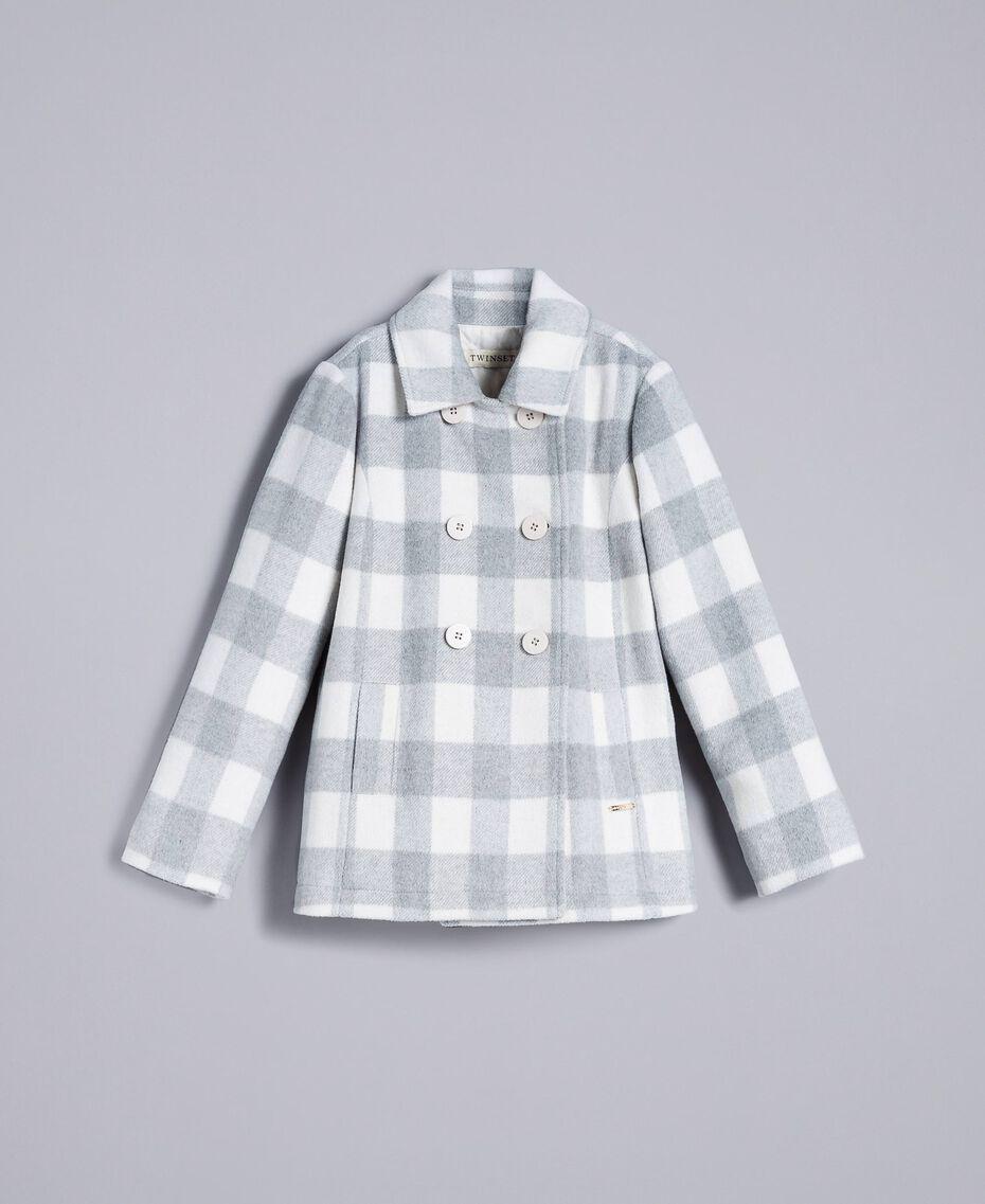 "Short check coat ""Grey Check"" / White Jacquard Child GA82CN-01"