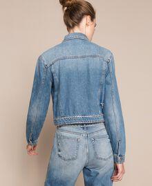 Blouson en jean avec strass Bleu Denim Femme 201MP2271-03