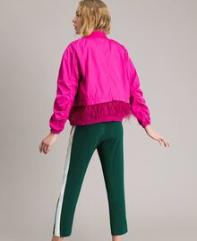 """Technical fabric bomber jacket with feathers """"Electric Pink"""" Fuchsia Woman 191TP2011-03"""