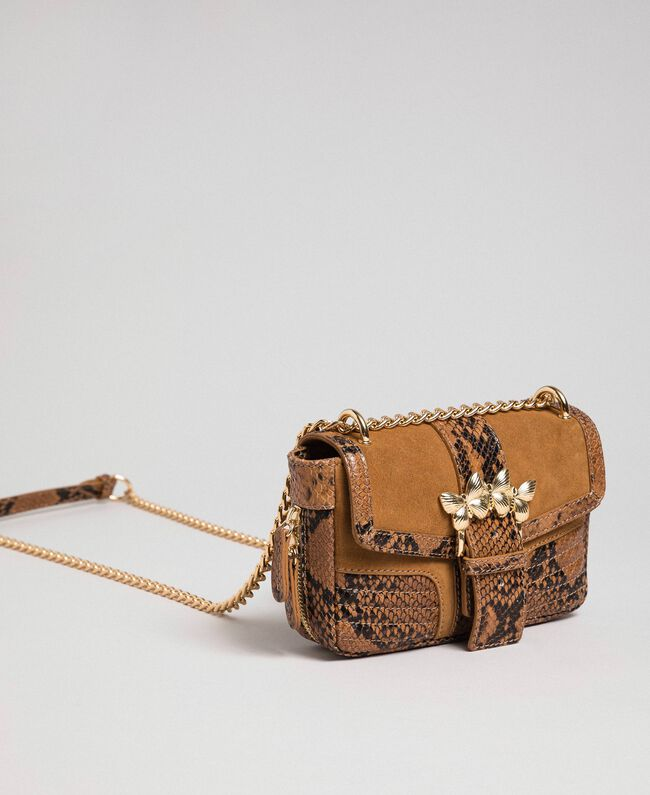 Small Rebel shoulder bag in suede and leather Brandy Python Print Woman 192TO8240-04