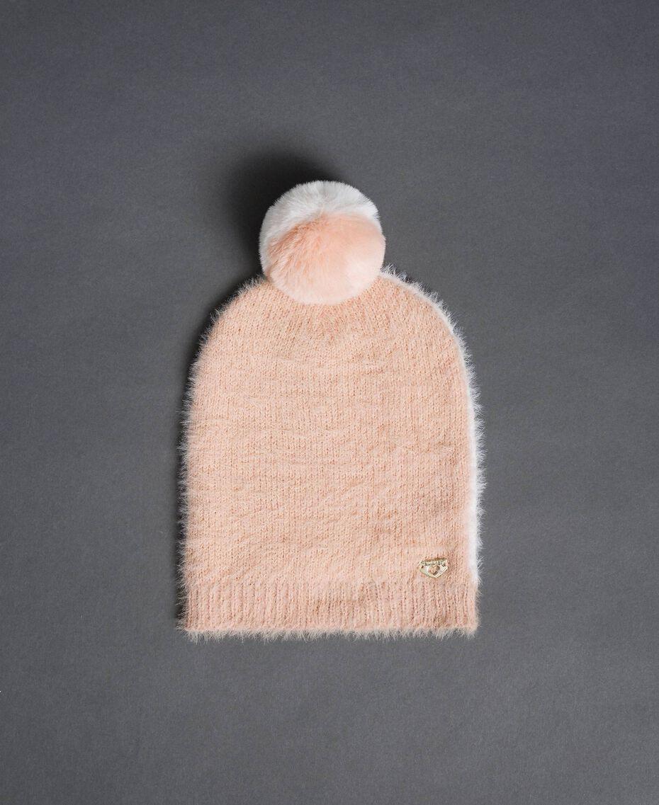 Two-tone fur effect beret Ivory / Nude Beige Woman 192LI4ZNN-01