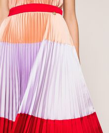 "Pleated long satin skirt Multicolour ""Lava"" Red / ""Ballerina"" Purple / Nude Pink Woman 201TP2313-04"