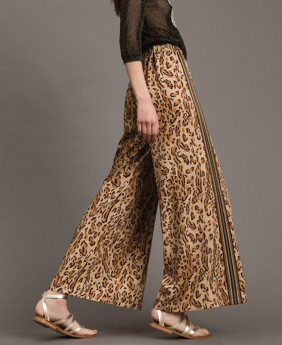 "Animal print palazzo trousers ""Petra Sandstone"" Brown Animal Print Woman 191LM2UEE-"
