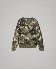 "Crêpe cotton printed jumper All Over ""Palms"" Camouflage Print Man 191UT3060-0S"