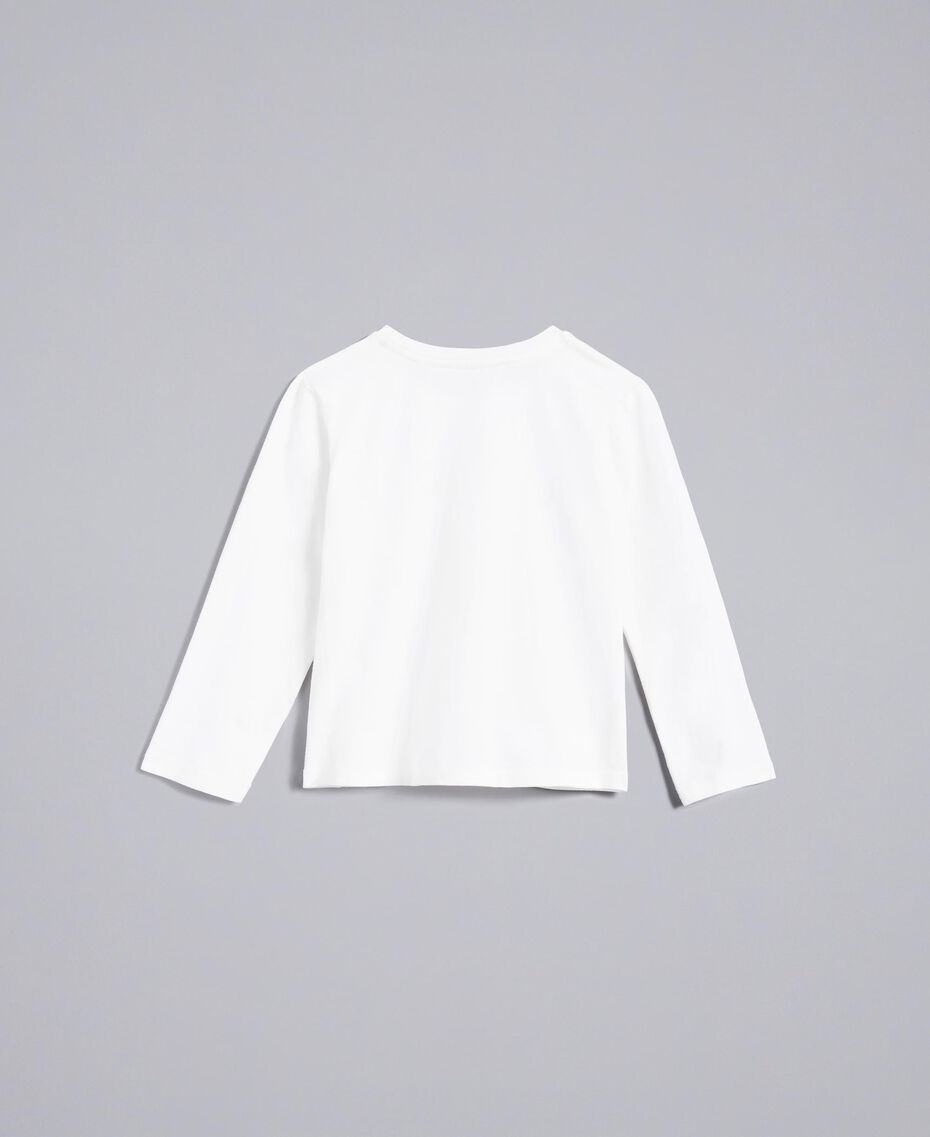 T-Shirt aus Jersey mit Strass Mattweiß Kind FA82SP-0S