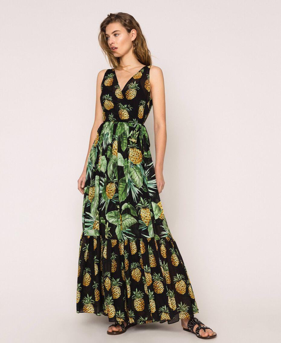 Vestido largo estampado con volantes Estampado Summer Fruits Negro Mujer 201TT2463-02