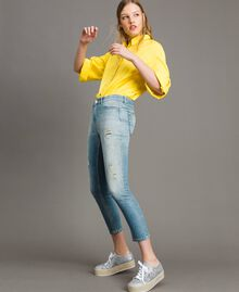Skinny jeans with rips Denim Blue Woman 191MP2472-01