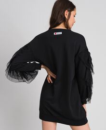 Robe en molleton avec volant en tulle Noir Femme 192LI2TCC-03
