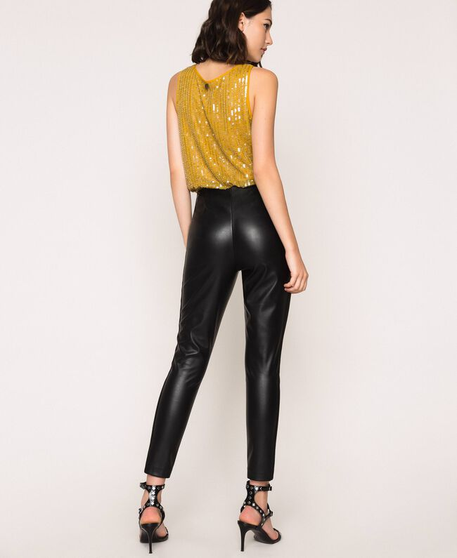 Faux leather leggings with zip Black Woman 201TP2200-03