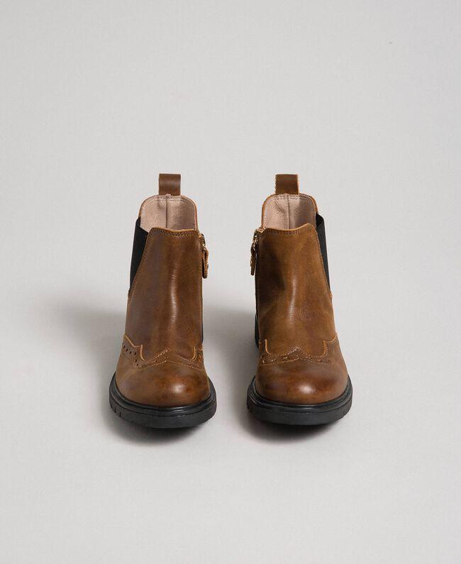 Bottines en cuir avec élastique et fermeture éclair Cuir Enfant 192GCJ040-04