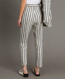 "Two-tone striped linen trousers Two-tone Black / ""Marzipan"" Beige Woman 191TT2314-04"