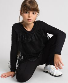 T-shirt with lace and tulle flounces Black Child 192GJ2320-02