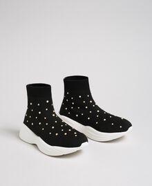 Sock-Sneakers aus Gestrick mit Perlenverzierung Schwarz Frau 192MCP06C-01