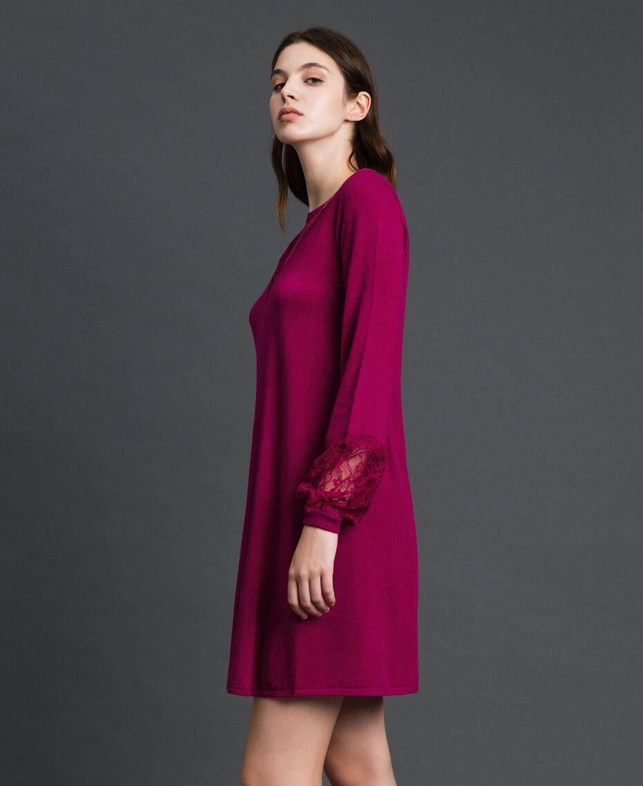 Kleid mit Spitze und Plumetis-Tüll Rote-Bete-Rot Frau 192TP3170-02