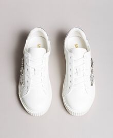 Kunstleder-Sneakers mit Steinen White Sahne Frau 191MCP032-05