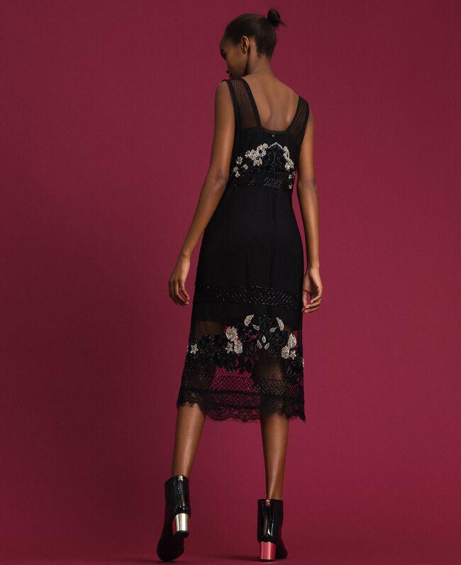 Robe en tulle plumetis avec broderie florale Noir Femme 192TT2042-03