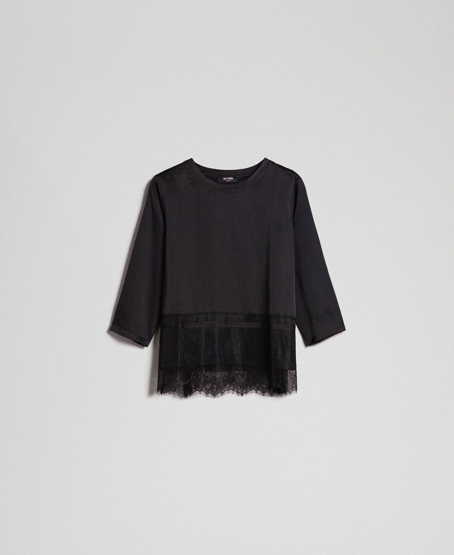 Soft satin blouse with lace flounce Black Woman 192MP2133-0S