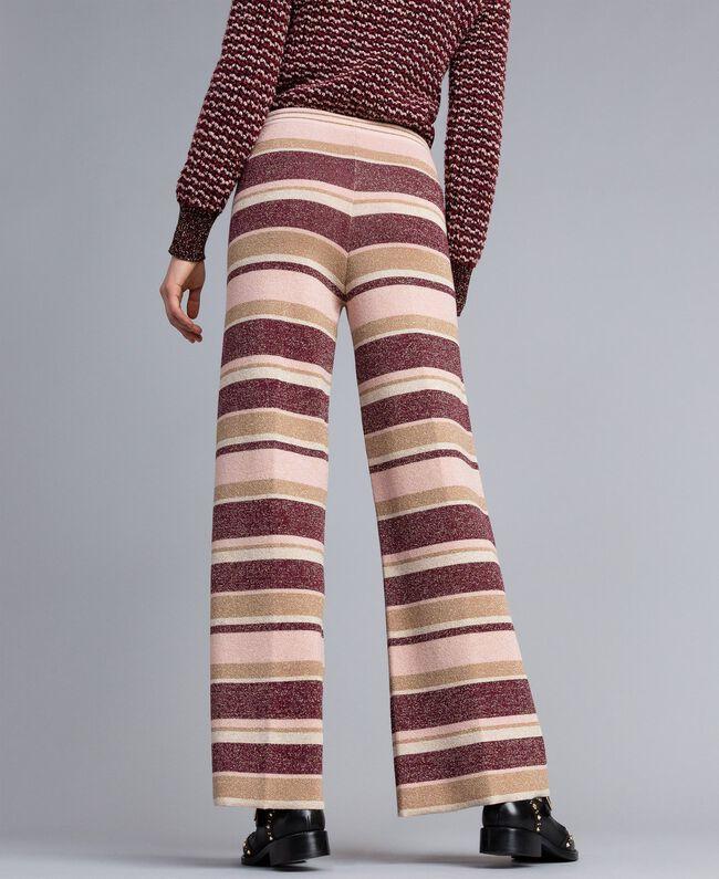 Pantalon palazzo rayé en lurex Multicolore Rose / Bordeaux Femme PA832Q-03