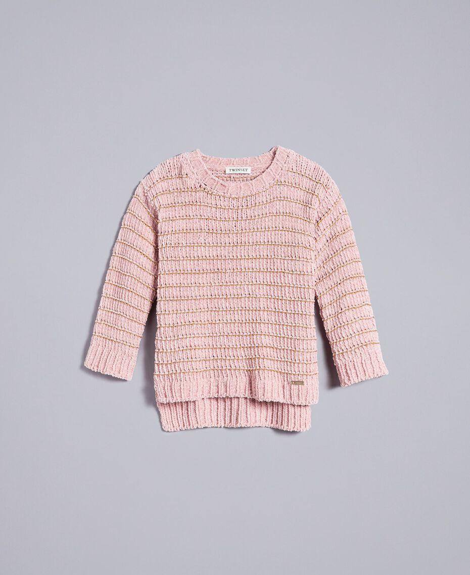 Chenille jumper with lurex Rose / Gold Lurex Jacquard Child GA83K1-01