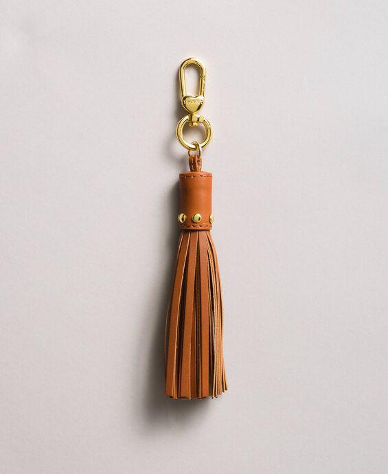 Porte-clés en cuir avec pompon