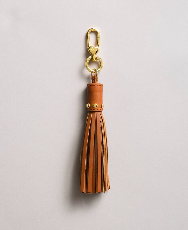 Leather keyrings with tassel Leather Brown Woman 191TO8264-01