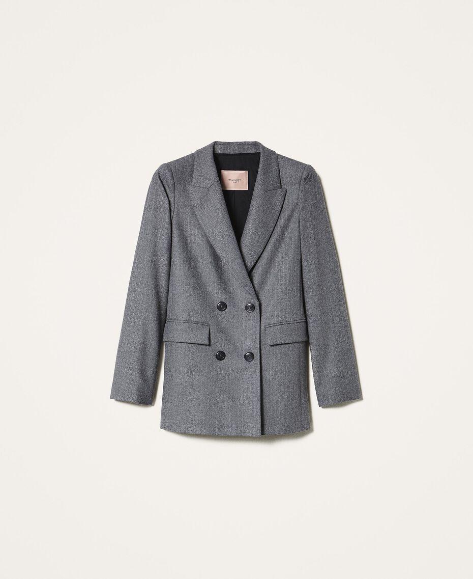 """Wool blend blazer Mottled Gray /""""Lurex"""" Silver Pin Stripe Woman 202TT2170-0S"""