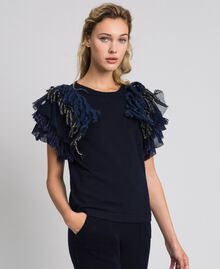 Cashmere blend jumper with fringes Midnight Blue Woman 192TT3300-01