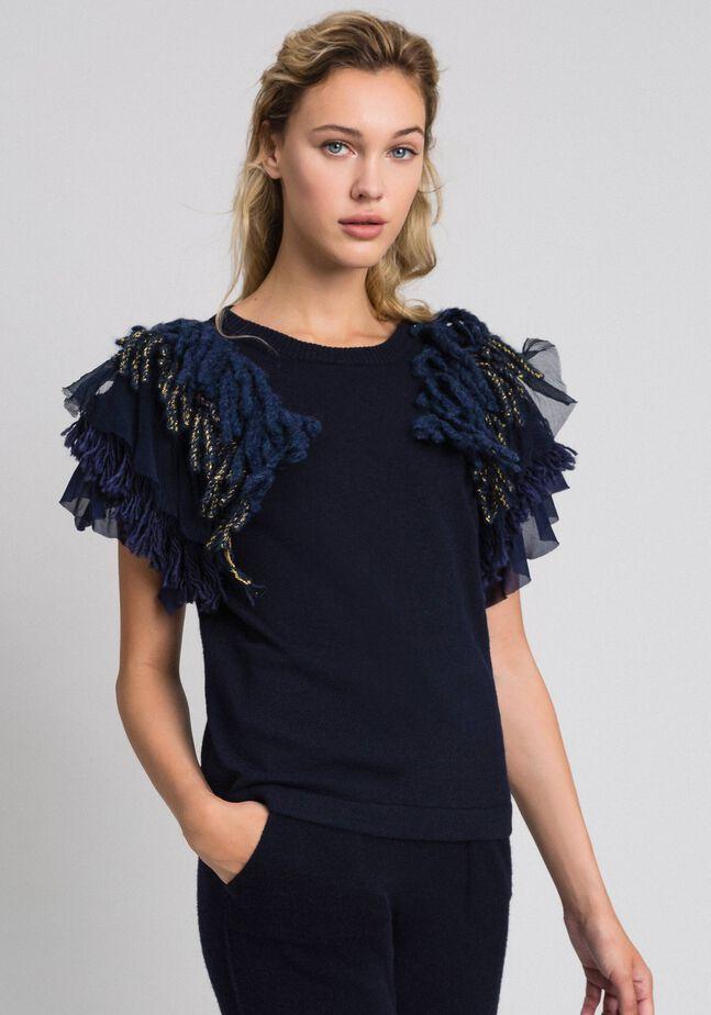 Cashmere blend jumper with fringes