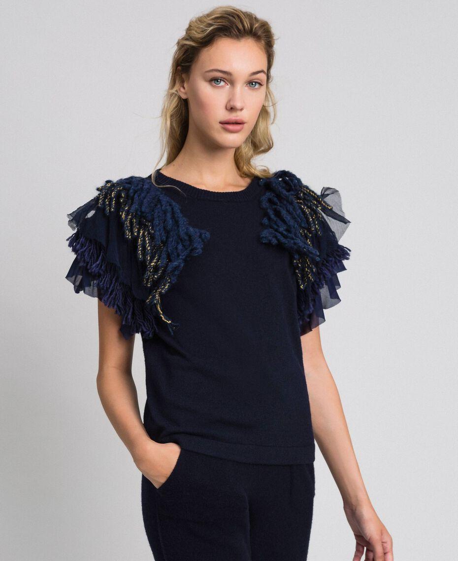 Pullover aus Kaschmirmischung mit Fransen Midnight-Blau Frau 192TT3300-01