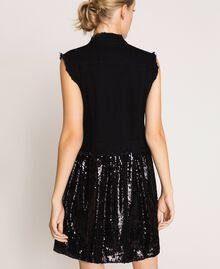 Full sequin shirt dress Black Denim Woman 201MP2260-03