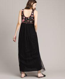 Robe longue en tulle avec broderie Noir Femme 191MT2260-03