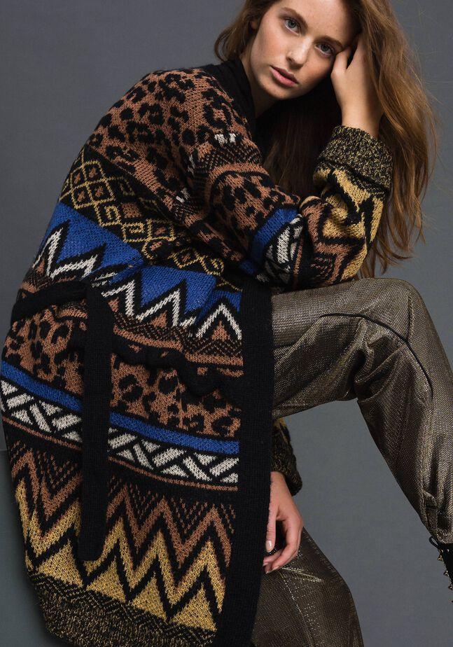 Cardigan en laine et mohair avec motifs jacquard