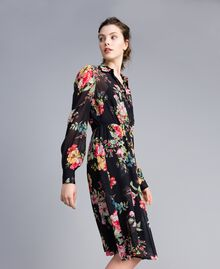 Floral print georgette dress Roses and Lilies Print Woman PA82MF-02