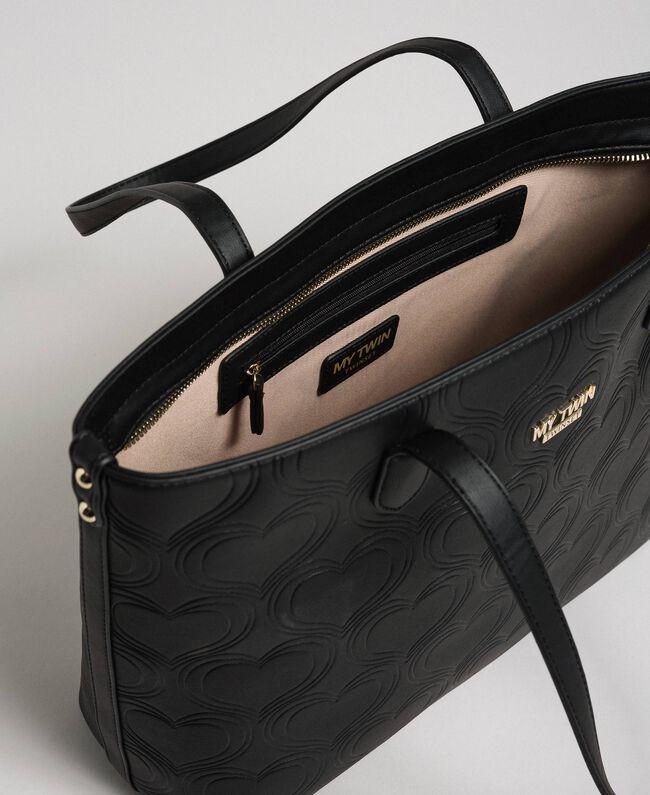 Faux leather heart print shopping bag Black Woman 192MA7010-04