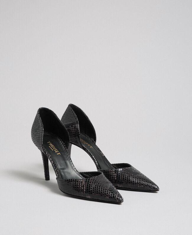 Zapatos de salón de piel con animal print Mujer, Gris